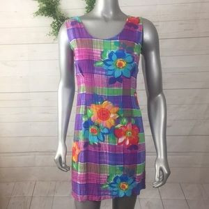 Jams World Size 3 Style Bloom Floral Plaid Dress